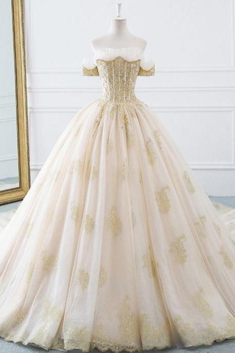 Princesse De Luxe Off The Shoulder Short Sleeve Beaded Sequins Appliques Luxury Princess Ball Gown Wedding Dress