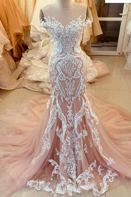 pink lace applique cap or long sleeves fishtail/mermaid wedding dress with train - various styles