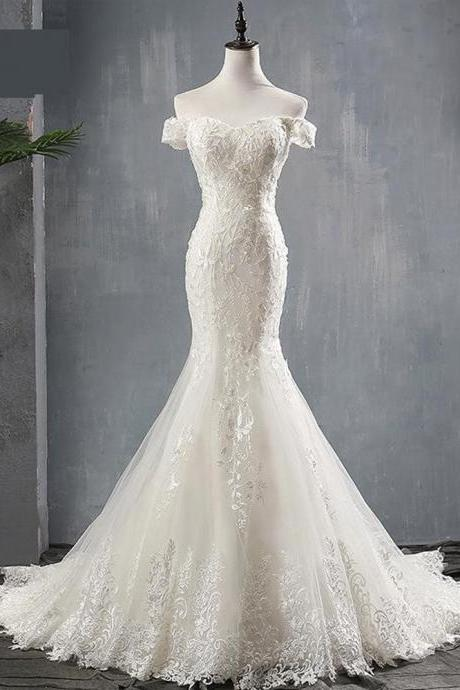 Mermaid Wedding Dress Lace Boat Neck Sweep Train Lace Up Cap Sleeve