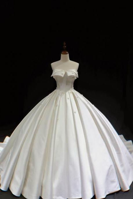 strapless white satin floral ballgown vintage wedding dress