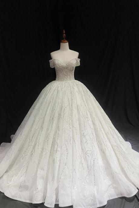 ivory crystal beaded sparkling off the shoulder royal ballgown princess wedding dress with V neck
