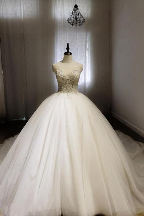 crystal beaded with tulle skirt princess ballgown wedding dress, off the shoulder/cape sleeve ivory tulle bridal ballgown dress