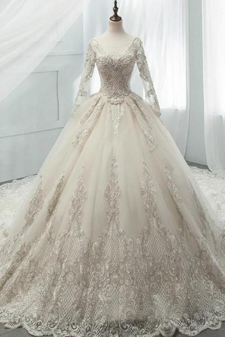 Champagne Tulle Appliques Long Sleeve Backless Beading Wedding Dress