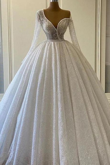 Ball Gown Plus Size Wedding Dress Sequins Vintage One Shoulder Wedding