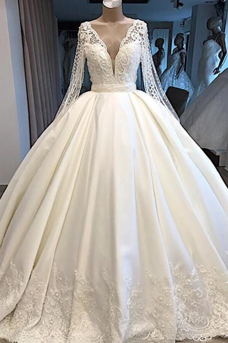 A Line Wedding Dress Ivory Satin Skirt Full Sleeve Bling Bling Plearls Bridal Dress