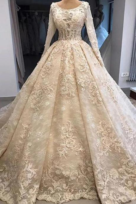 Long Sleeve Lace Appliques Retro Ball Gown Wedding Dresses