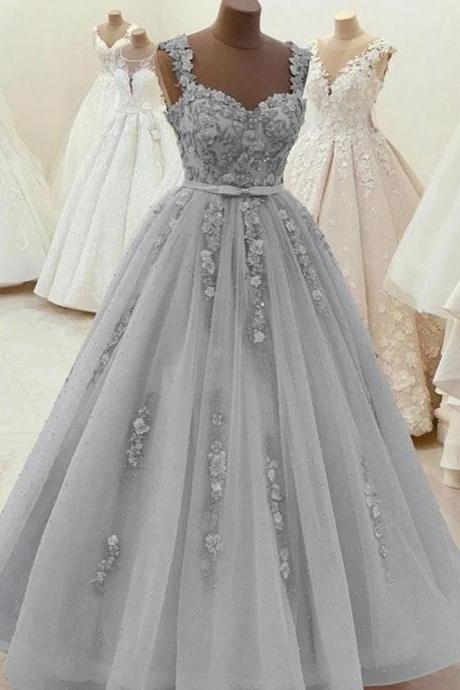 Sweetheart Neck Beaded Gray Lace Prom Dresses Gray Lace Formal Dresses Evening Dresses