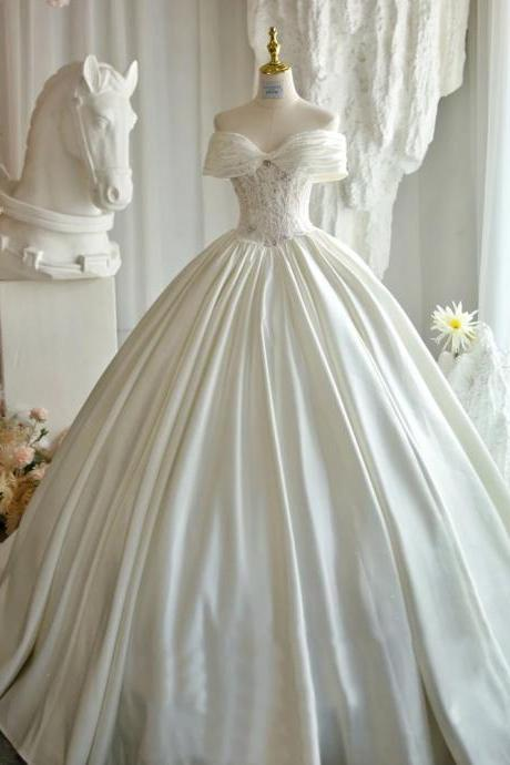 Princess 2021 one-shoulder lace applique satin wedding dress prom dress illusion bride custom