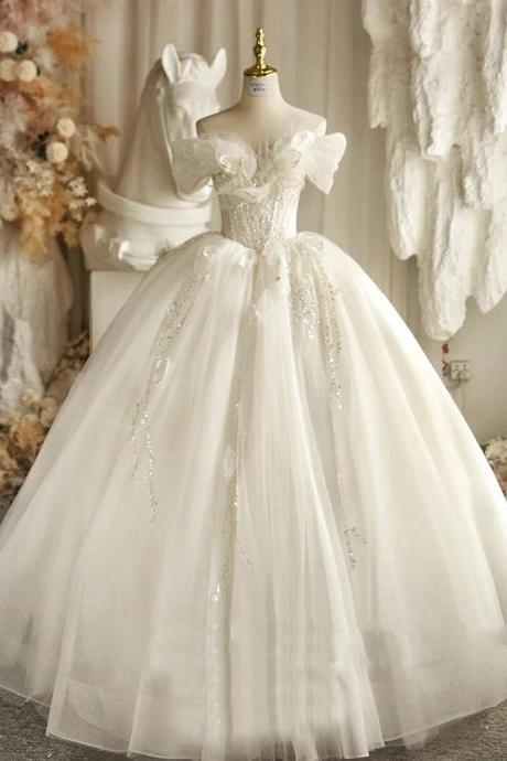 Sweetheart Ball Gown Wedding Dresses 2021 Appliques Flowers Vintage Lace Bride Gowns