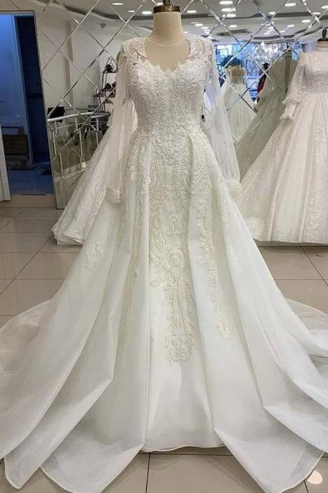 V-neck lace mermaid bridal applique wedding dress detachable train