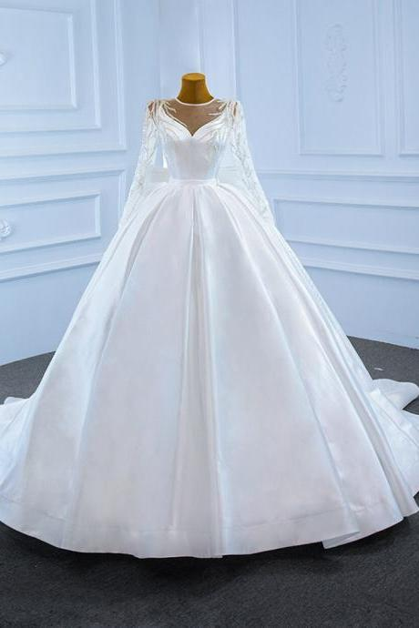 White Ball Gown Satin Long Sleeve Beading Wedding Dress